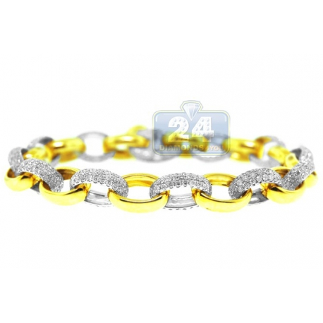 Mens Diamond Cable Link Bracelet 14K Two Tone Gold 5.33 ct 8mm 8""