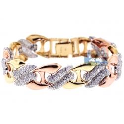 14K 3-Tone Gold 6.20 ct Diamond Womens Mariner Bracelet