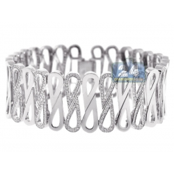 14K White Gold 4.44 ct Diamond Womens Wide Infinity Bracelet