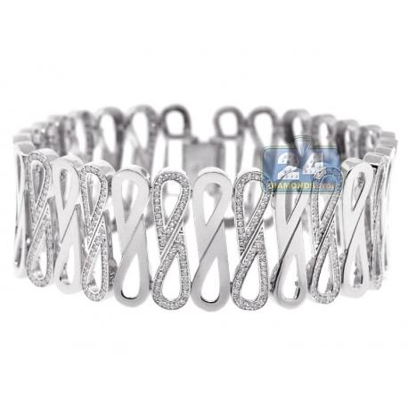 "Womens Diamond Wide Infinity Bracelet 14K White Gold 4.44 ct 8"""