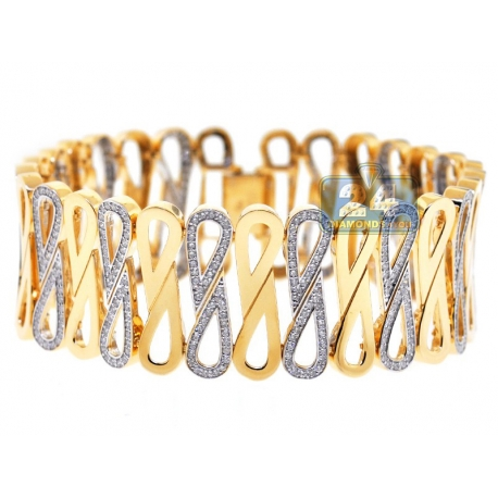 "Womens Diamond Wide Infinity Bracelet 14K Yellow Gold 4.46 ct 8"""