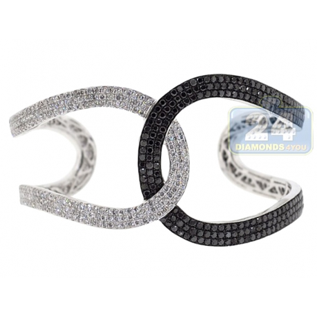 womens black diamond interlocking cuff bracelet 14k white gold