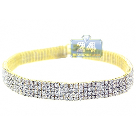 Womens Diamond Flexible Tennis Bracelet 14K Yellow Gold 11.58 ct