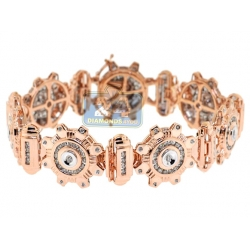 14K Rose Gold 3.57 ct Diamond Round Link Mens Bracelet 8 Inch