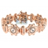 Mens Diamond Round Link Bracelet 14K Rose Gold 3.57 ct 20mm 8""