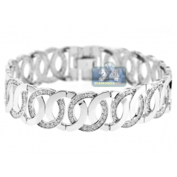 14K White Gold 5.33 ct Diamond Round Link Womens Bracelet
