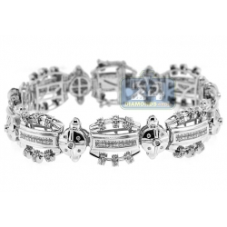 14K White Gold 3.13 ct Diamond Link Mens Bracelet 8 Inches
