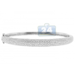14K White Gold 3.85 ct Diamond Womens Bangle Bracelet