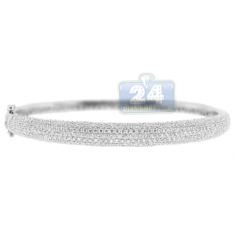Womens Diamond Pave Round Bangle Bracelet 14K White Gold 3.85 ct
