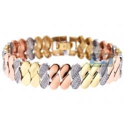 14K 3-Tone Gold 2.11 ct Diamond Half Link Womens Bracelet