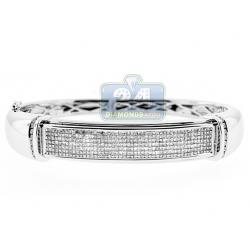 14K White Gold 3.00 ct Princess Diamond Oval Bangle Bracelet