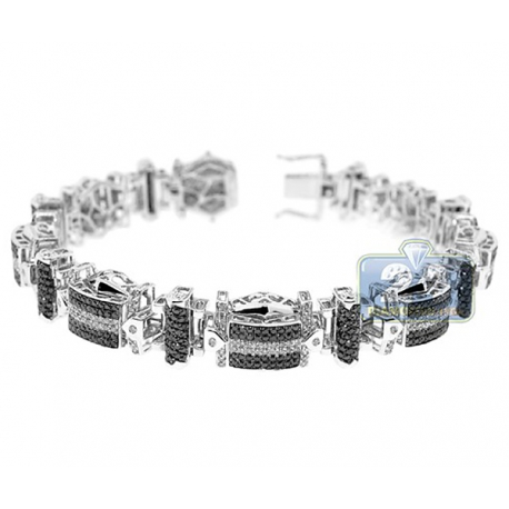 Mens Black Diamond Pave Link Bracelet 14K White Gold 5.80 ct 8.5""