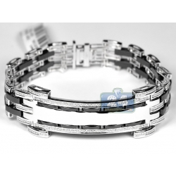14K White Gold Ceramic 1.64 ct Diamond Mens ID Name Bracelet