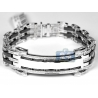 Mens Diamond ID Name Bracelet 14K White Gold Ceramic 1.64 ct 8.75""