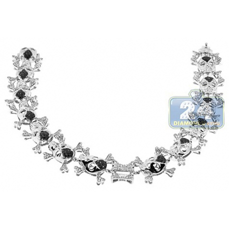 Mens Black Diamond Skull Bones Bracelet 14K White Gold 2.20 ct