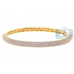14K Yellow Gold 4.53 ct Diamond Womens Oval Bangle Bracelet