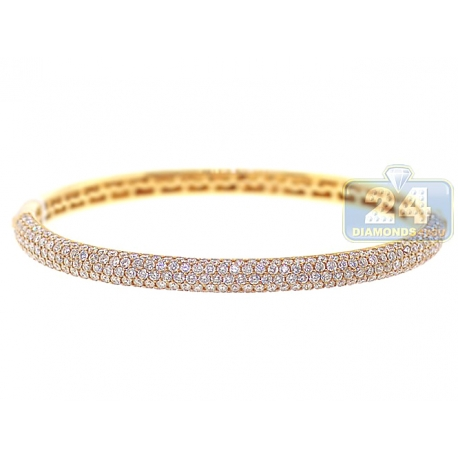 Womens Diamond Oval Bangle Bracelet 14K Yellow Gold 4.53 ct 7.5""