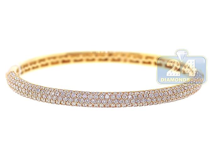 "Beautiful 18K Yellow Gold Finish Bangle Bracelet Size 7.5"" 2 Carats for Women"