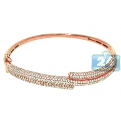 18K Rose Gold 3.20 ct Diamond Womens Oval Bangle Bracelet