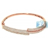 Womens VS1 F Diamond Oval Bangle Bracelet 18K Rose Gold 3.20 ct
