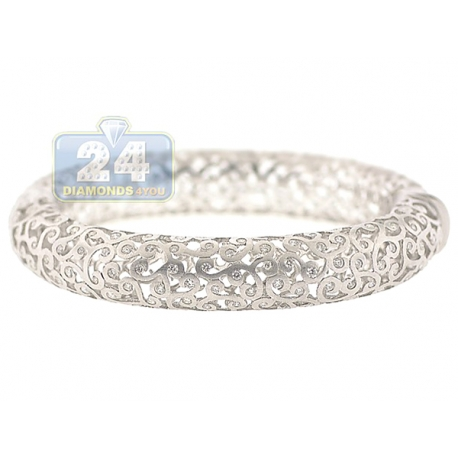 "Womens Diamond Openwork Puff Bangle Bracelet 14K White Gold 6.5"""