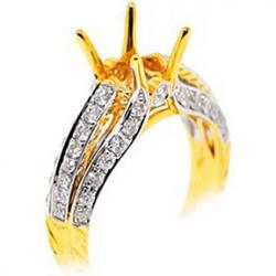 18K Yellow Gold 0.88 ct Diamond Semi Mount Engagement Ring