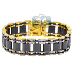 14K Yellow Gold Ceramic 1.75 ct Diamond Mens Bracelet 9 Inches