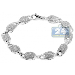 14K White Gold 6.07 ct Diamond Puff Link Mens Bracelet