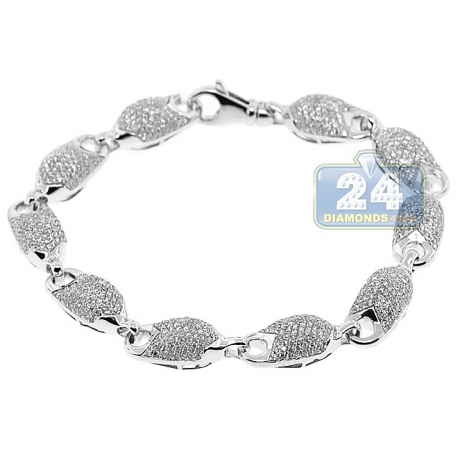 "Mens Diamond Pave Bullet Puff Link Bracelet 14K White Gold 8.75"""