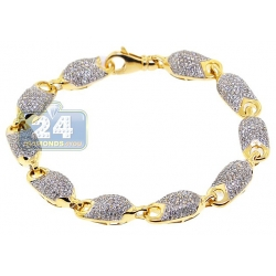 14K Yellow Gold 6.07 ct Diamond Puff Link Mens Bracelet