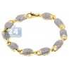 Mens Diamond Pave Bullet Puff Link Bracelet 14K Yellow Gold 8.75""
