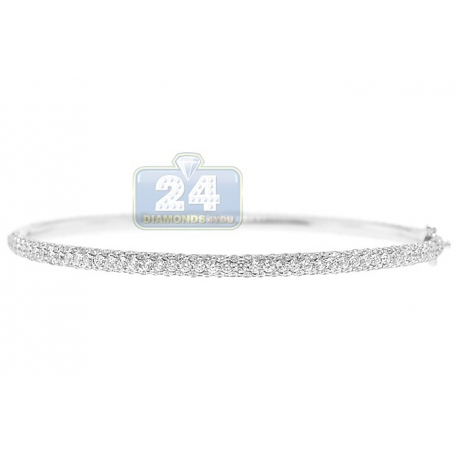 Womens Diamond Oval Bangle Bracelet 18K White Gold 4.19 ct 7""