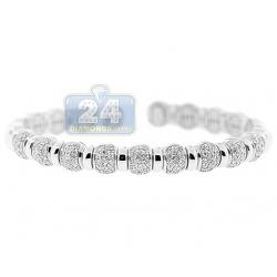 14K White Gold 1.57 ct Diamond Bead Womens Cuff Bracelet