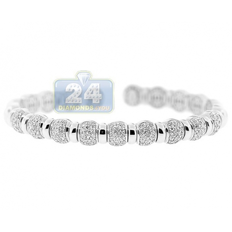 Womens Diamond Pave Bead Cuff Bracelet 14K White Gold 1.57 ct