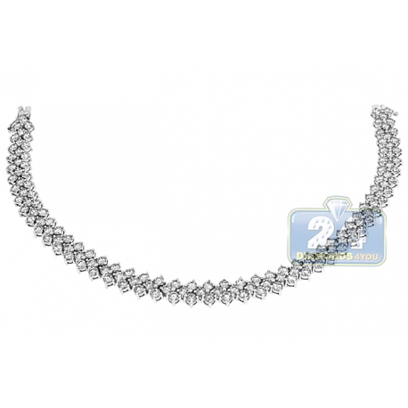 Womens Diamond Cluster Tennis Bracelet 18K White Gold 8.24 ct