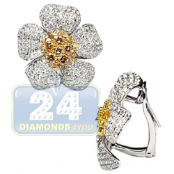 Womens Fancy Yellow Diamond Flower Huggie Earrings 18K Gold