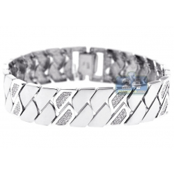 14K White Gold 2.10 ct Diamond Geometric Link Womens Bracelet