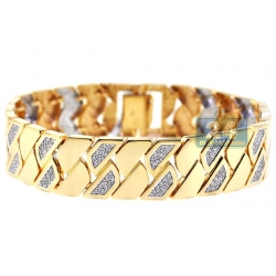 14K Yellow Gold 2.11 ct Diamond Geometric Link Womens Bracelet