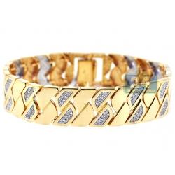 14K Yellow Gold 2.11 ct Diamond Geometric Link Womens Bracelet