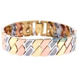 14K 3-Tone Gold 2.12 ct Diamond Geometric Link Womens Bracelet