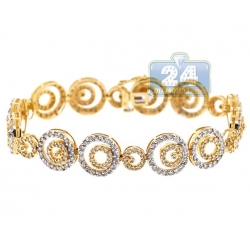 14K Yellow Gold 6.00 ct Diamond Round Link Womens Bracelet