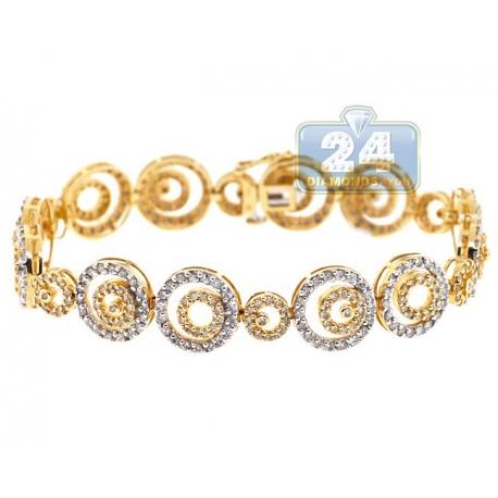 "Womens Diamond Round Link Bracelet 14K Yellow Gold 6.00 ct 7"""