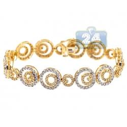 14K Yellow Gold 6.00 ct Diamond Round Link Womens Bracelet