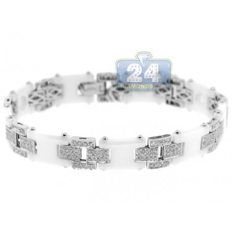 "Mens Diamond Link Bracelet 14K White Gold Ceramic 3.25 ct 8.5"""