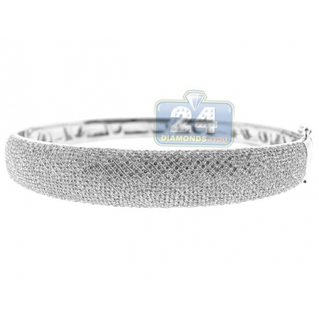 Womens Diamond Pave Oval Bangle Bracelet 14K White Gold 5.40 ct