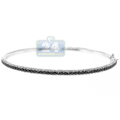 Womens Black Diamond Oval Bangle Bracelet 18K White Gold 2.55 ct