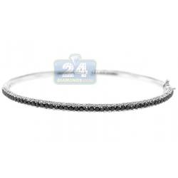 18K White Gold 2.55 ct Black Diamond Oval Bangle Bracelet
