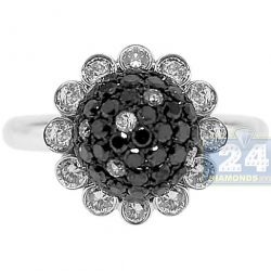 14K White Gold 2.10 ct Black Diamond Womens Flower Ring