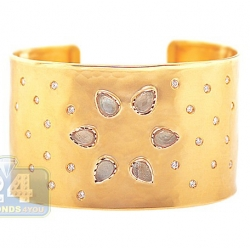 14K Yellow Gold 9.27 ct Quartz Diamond Womens Cuff Bracelet