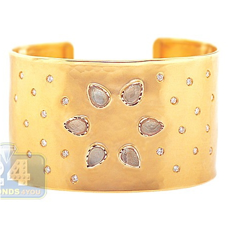 Womens Smoky Quartz Diamond Cuff Bracelet 14K Yellow Gold 9.27 ct